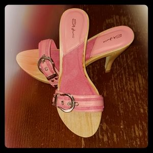 Styluxe Heels Wood Pink Buckle  New Condition